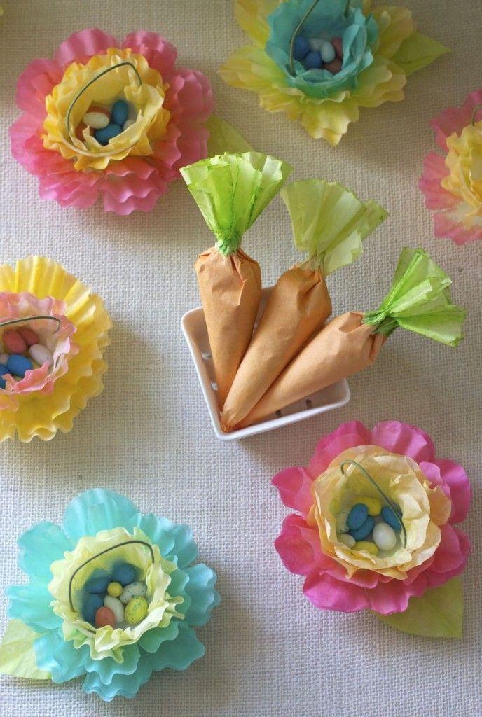 Idee per Pasqua: fiori e carote portaovetti da riciclo filtri caffè - Tutorial