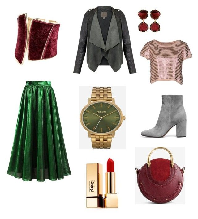 Scarlet look and dots of green by alexandra-serban-1 on Polyvore featuring polyvore fashion style LIU•JO Chloé GUESS by Marciano Annoushka Nixon Yves Saint Laurent clothing
