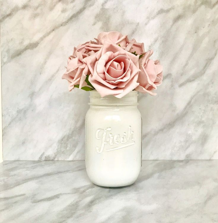 White Mason Jar Mason Jar Centerpieces Make Up Brush Holder Glass Decorative Jar Make Up Jar Organiser Fake Flower Vase Mason Jar Gift Etsy Make Up Und Shops