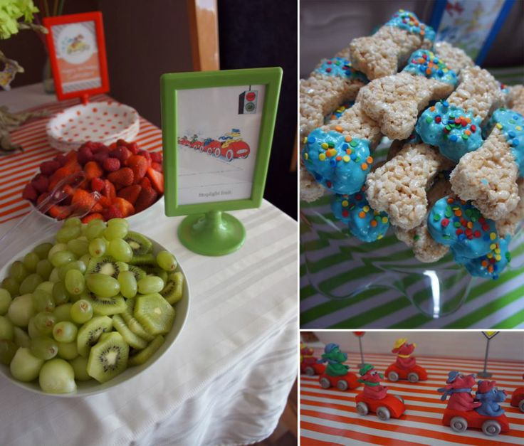 Go Dog Go Party - Stoplight fruit, bone shaped rice krispie treats and clay dogs. Mommy and me book club snacks