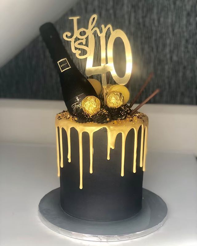 Black Gold Drip Cake For Johns 40th Birthday Topped With