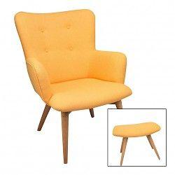 Duverger selection Fauteuil zetel met voetbank vintage geel stof