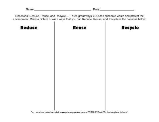 Earth Day Worksheets Reduce Reuse Recycle Reduce
