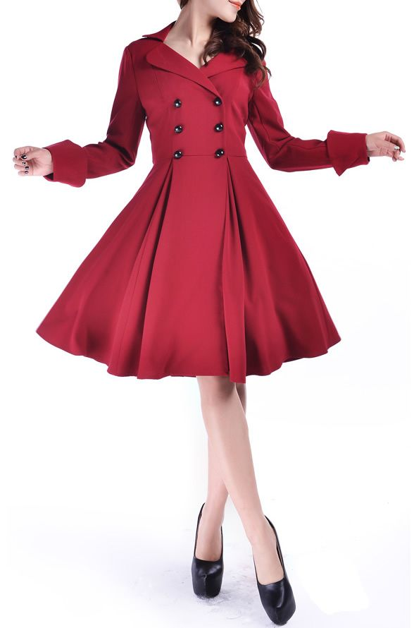 "Manteau Pin Up ""Melyna"" - Rouge                                                                                                                                                                                 Plus"