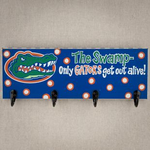 The Swamp - Only Gators Get Out Alive! Darling four-pegged hook board to hang in a door, room, or entryway. #Florida #Gators #GloryHaus