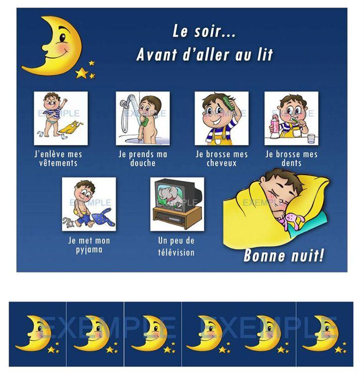 Rituel du coucher pictogrammes pinterest - Palpitations le soir au coucher ...