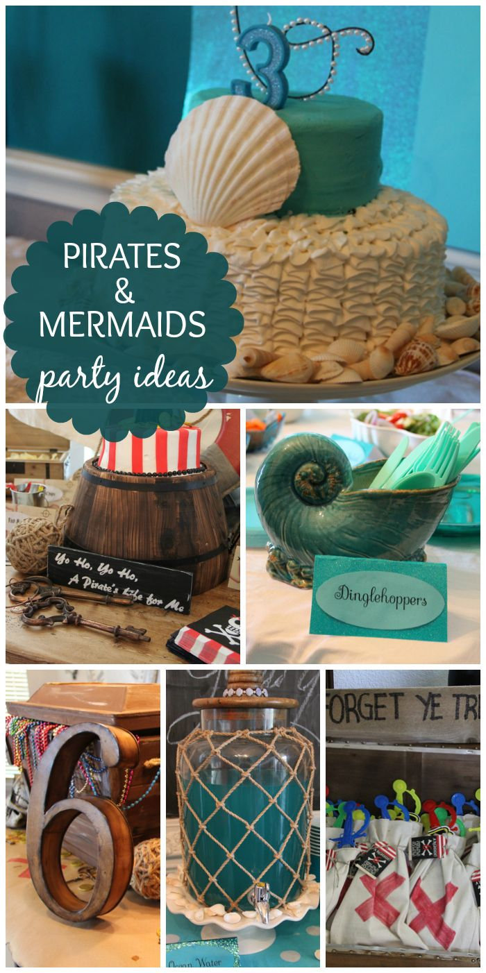 A fun boy and girl birthday party with a Pirates and Mermaid theme!  See more party ideas at CatchMyParty.com!