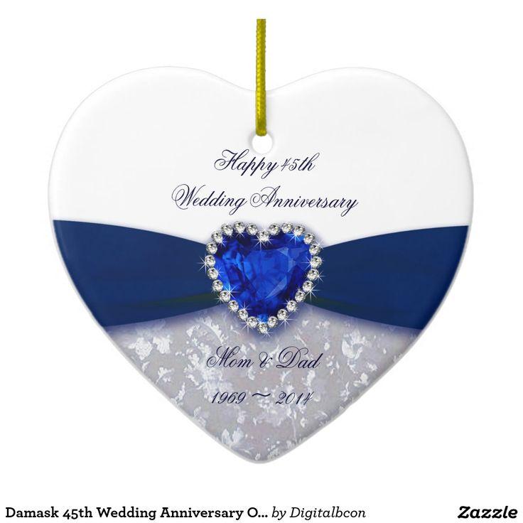 Damask 45th Wedding Anniversary Ornament 75 best