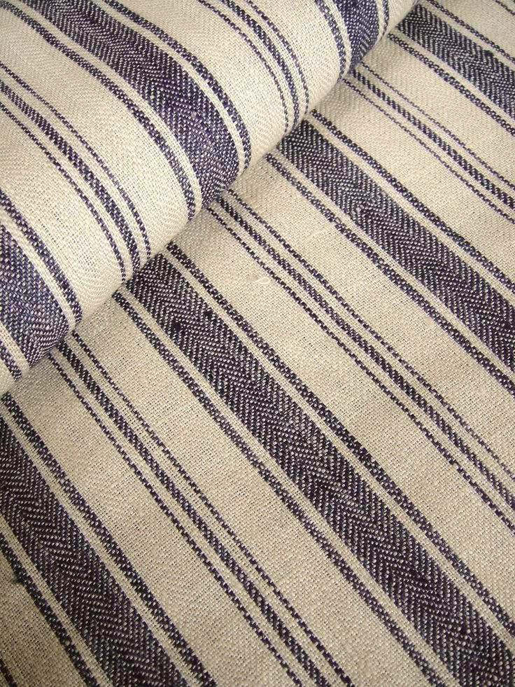 METERAGE French Belgian Linen ticking fabric by Libeco - Antibes Navy Blue Stripe. AUD56/m. Price per quarter metre. $14.00, via Etsy.