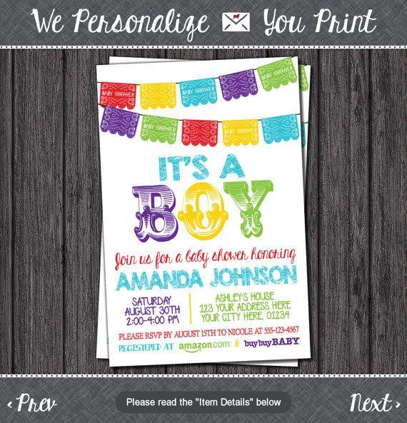 Fiesta Baby Shower Invitation   Papel Picado Mexican Baby Sprinkle  Invitations   Printable Baby Shower Invite