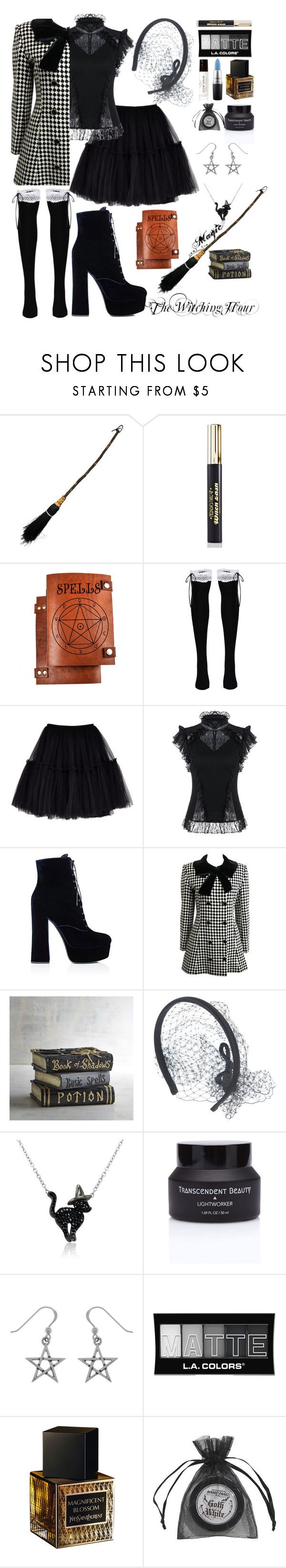 """""""The Witching Hour"""" by shewalksinsilence ❤ liked on Polyvore featuring Medusa's Makeup, Prada, Pier 1 Imports, RED Valentino, Amanda Rose Collection, L.A. Colors, Yves Saint Laurent, Manic Panic NYC, MAC Cosmetics and Birchrose + Co."""