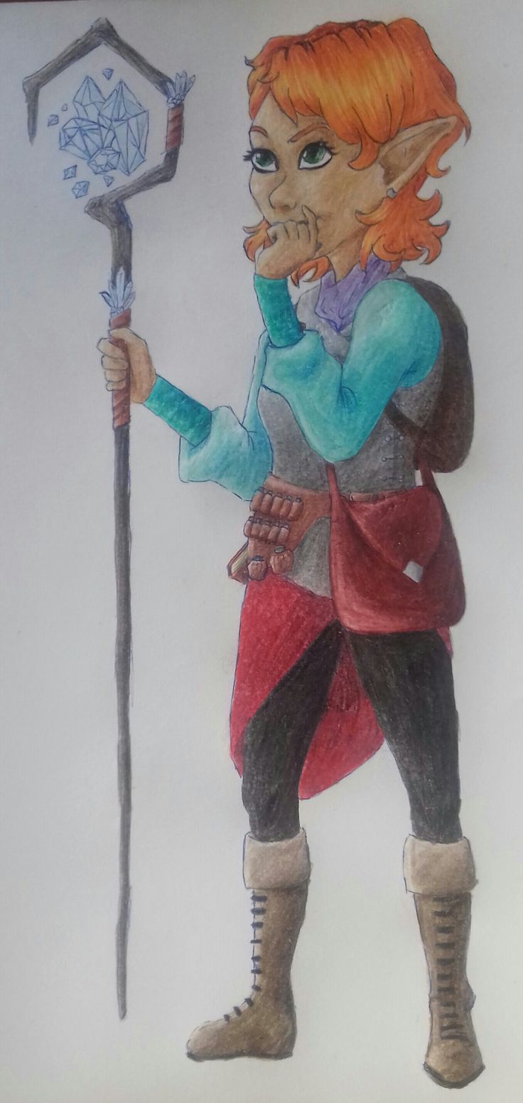 So she's not mine but my friend's D&D character I decided to draw. She's a gnome wizard/ piromancer called Ginamyra. It's on A/5 white paper, done with colored pencils and a blue pen. Photo taken with my phone's camera.