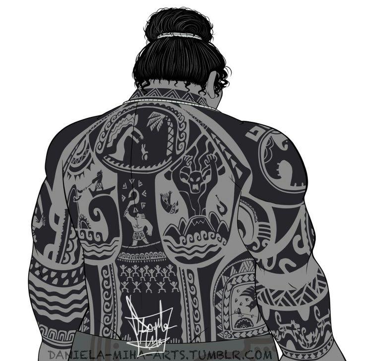 Maui's back tattoos Moana art