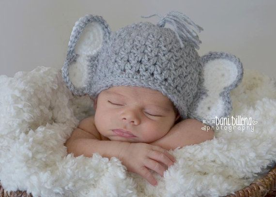 Newborn Elephant Hat by MadhatterknitsCo on Etsy, $22.00 this with a little pink  bow would be simply adorable