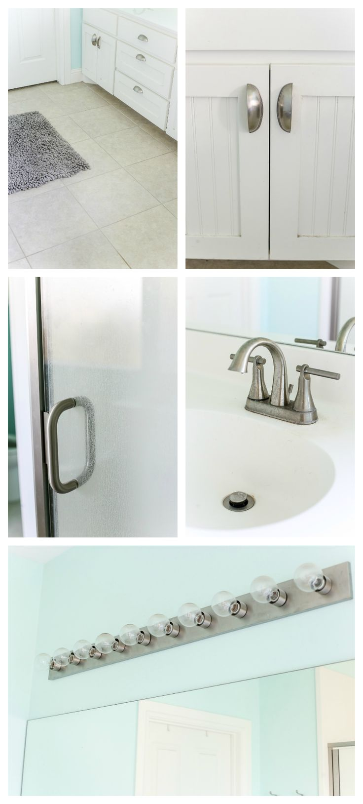 Lowe's Spring Makeover Bathroom Reveal | blesserhouse.com - A team of 6 DIYers take on a bathroom makeover in 48 hours to transform a plain, builder grade space to give it character and modern farmhouse charm.