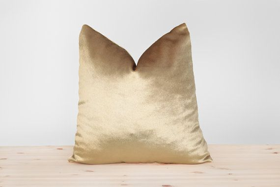 Gold Velvet Pillow Cover Solid Gold Cushion Shiny Gold by Esnelle