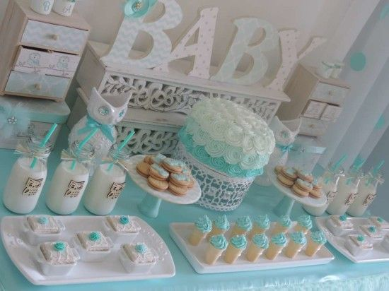 Welcome home owl baby shower ideas ombre aqua baby for Welcome home baby shower decorations