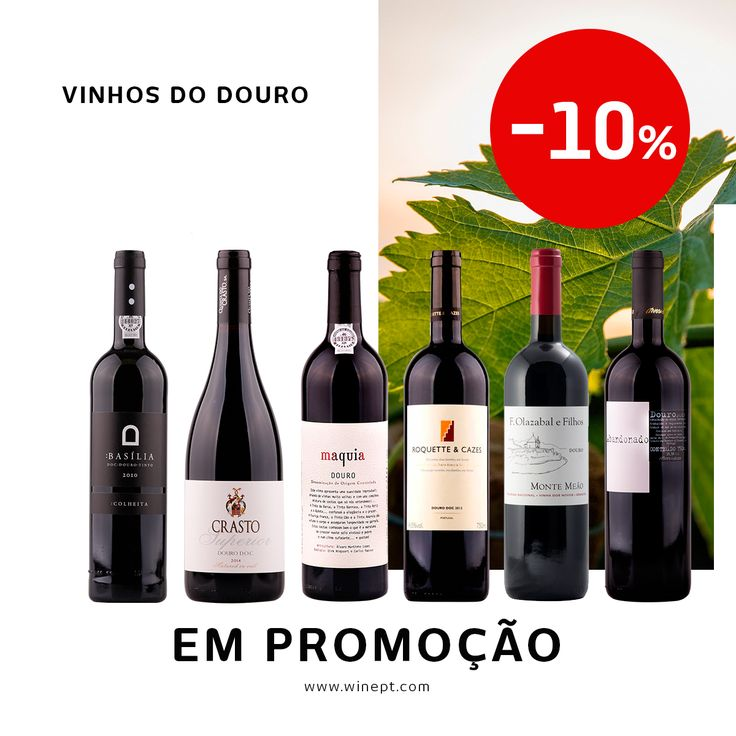 ÚLTIMA OPORTUNIDADE!  Tem apenas hoje para aproveitar 10% de desconto numa seleção de vinhos do Douro.  Oferta de portes de envio para encomendas superiores a 50€ (válido para Portugal e Espanha continentais).  Na sua loja online www.winept =