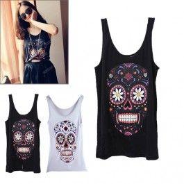 New Lovely Cute Fashion Joker Cartoon Skull Design Sleeveless T-shirt Render Vest