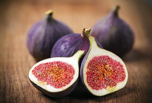 figs-figs     4. Get figgy with it.  If you're looking for bone-strengthening fruits, figs should be near the top of your shopping list. Five medium fresh figs have around 90 milligrams of calcium and other skeleton-saving nutrients like potassium and magnesium. Fresh figs are grown in California through the summer and fall, but you can find them dried all year. And dried ones are just as good: Half a cup of dried figs have 120 milligrams of calcium.