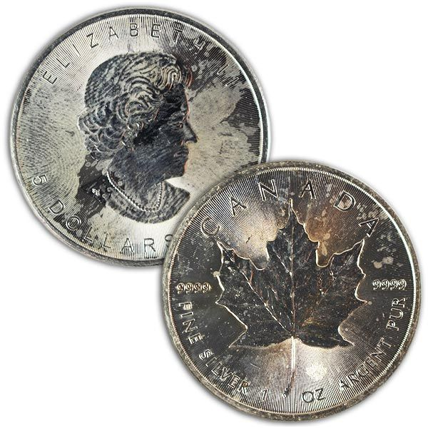 Discount 1 Oz Canadian Silver Maple Leaf Coins Cull Damaged Silver Coins For Sale Silver Maple Leaf Silver Bullion Coins