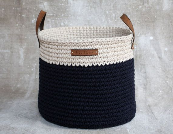 Handmade Crochet  Cotton Basket in cream/ navy by regreenyourlife