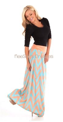 Peach and Mint Chevron Maxi Skirt   Trendy Modest Clothing   Chevron Maxi Skirt