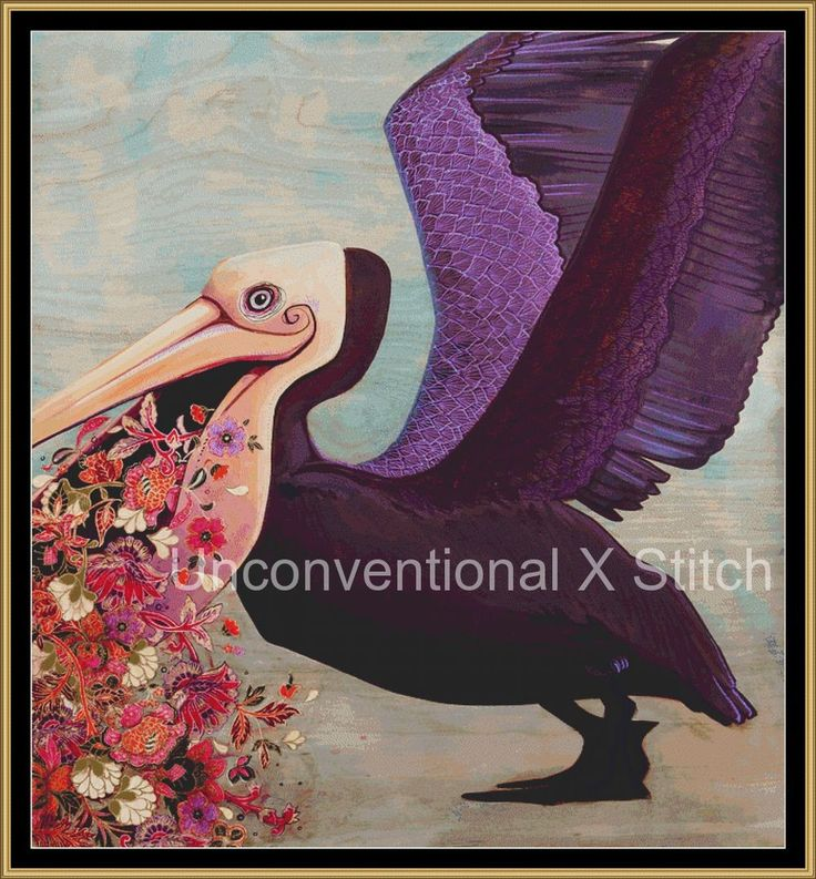 Pelican and flowers cross stitch pattern - Lies for the Liars - Licensed Brianna Reagan by UnconventionalX on Etsy