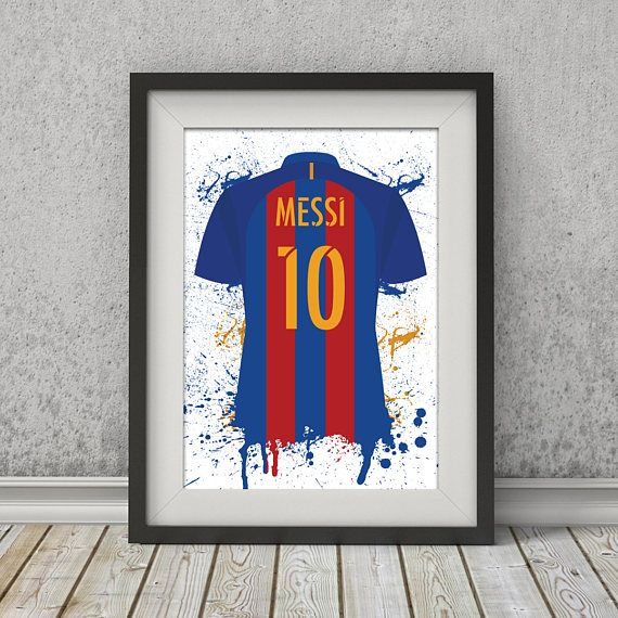Lionel Messi Barcelona Shirt La Liga Illustrated poster