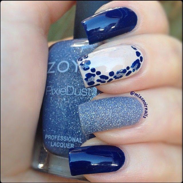Blue nails. Zoya. Leopard. Nail Art. Nail Design. Polish. Manicure.