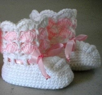 Free Crochet Baby Bootie Patterns | Crochet Baby Booties - Pink and White - 6 to 12 Mo