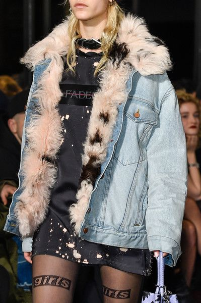 Fur-lined denim jacket at the Alexander Wang runway show 2016.