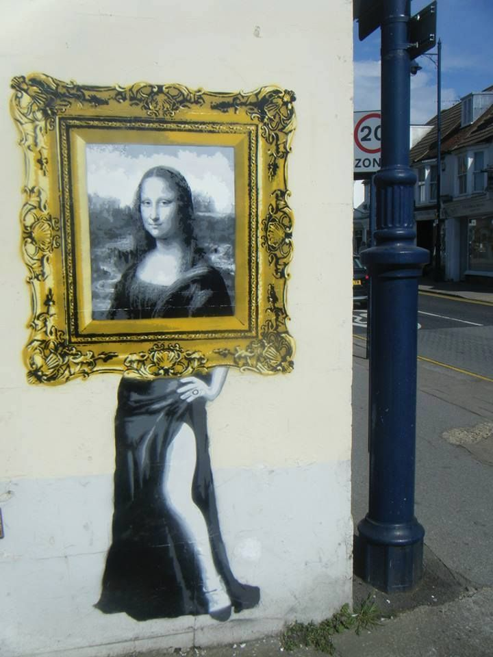 Les dessous de nos tableaux... / Mona Lisa. / Street art. / London, Londres. / United kingdom. / Royaume-Uni. / By Catman.                                                                                                                                                                                 Plus