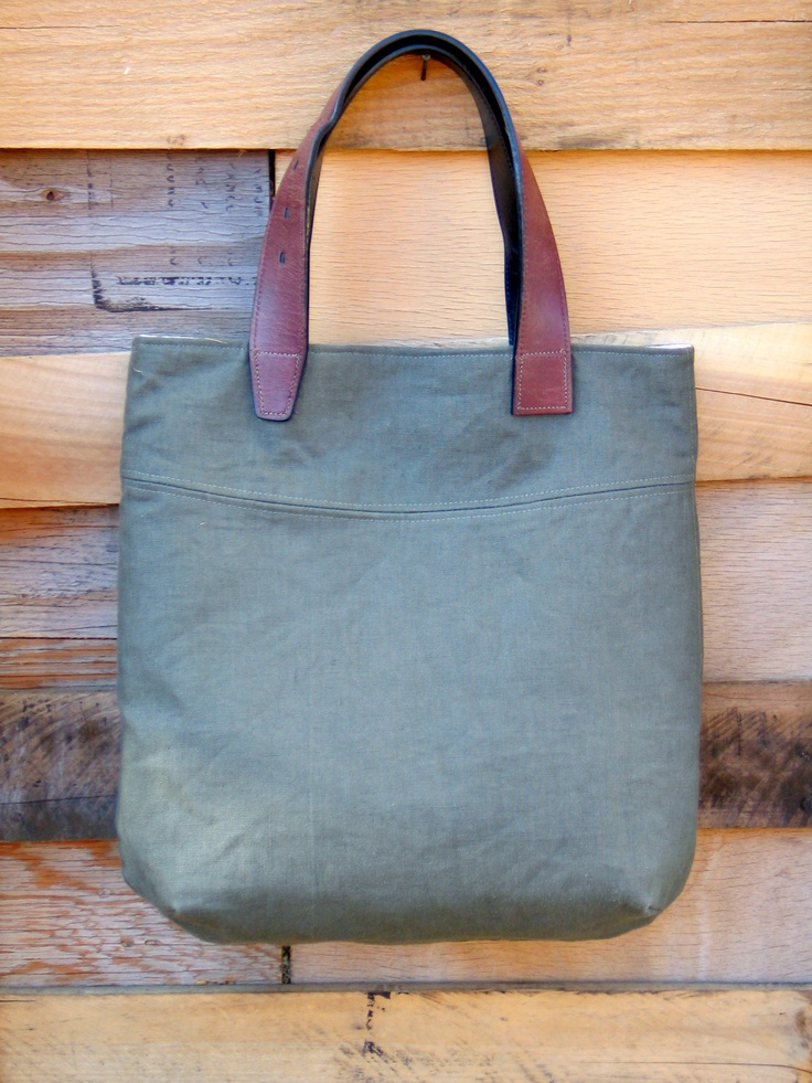 Linen Handbag with  Re-purposed Leather Handles
