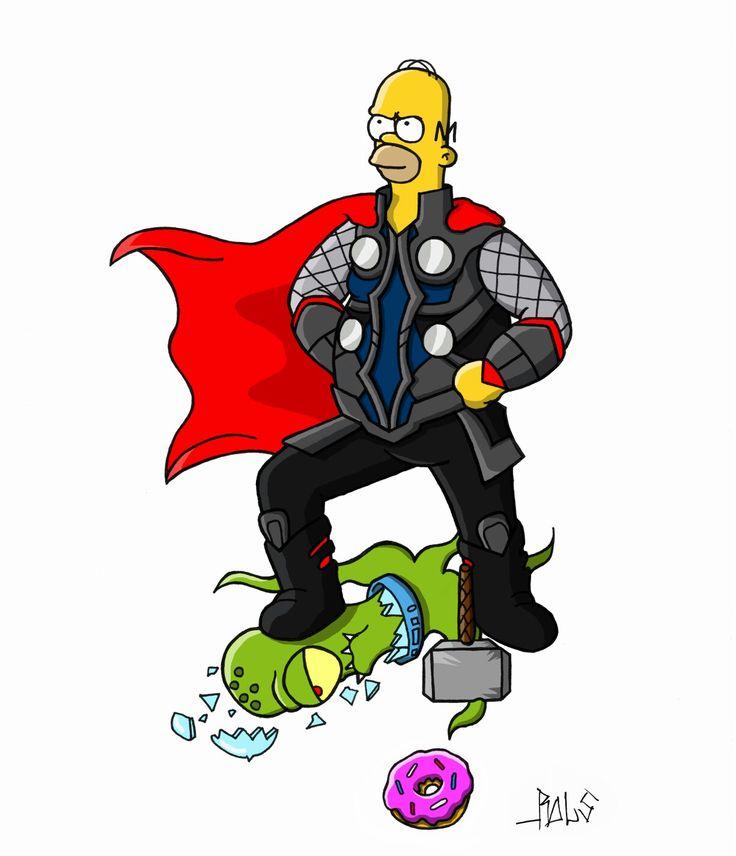 Simpsons Homer Thor Alien  Donut