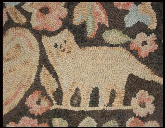 Hand Hooked Wool Rug Vintage Style Cats By Briarwoodfolkart