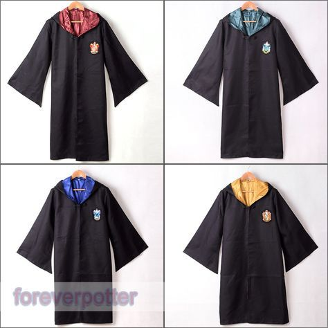 Harry Potter Adult Gryffindor/Slytherin/Hufflepuff/Ravenclaw Robe Cloak Cape Cos #Great #RobeCloakCape