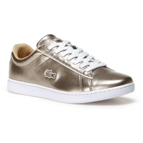 Lacoste XL Women's Carnaby Evo Low-Rise Metallic Leather Sneakers ($90) ❤ liked on Polyvore featuring shoes, sneakers, sneakers sneakers, tennis sneakers, tennis shoes, metallic sneakers, metallic shoes and tennis trainer