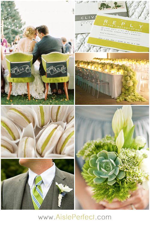 Chartreuse and Grey Wedding Inspiration #wedding