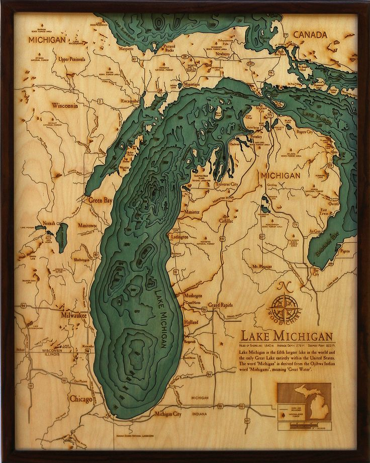 Lake MichiganLaser Cut Wood Maps Explore the