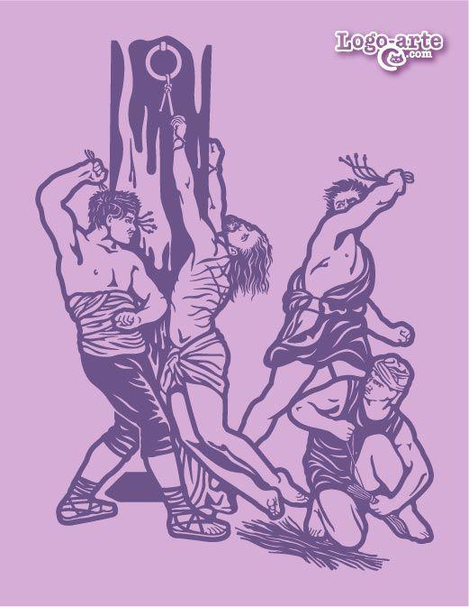 Sexta estación del Viacrucis: LA FLAGELACIÓN  Ante la falta de evidencias para condenar a Jesús, Pilato, el procurador romano, ordenó la flagelación. Esta práctica consistía en por lo menos 40 golpes con el flagellum taxillatum (una especie de látigo compuesto básicamente de un bastón con tiras de cuero. La punta de cada tira se encontraba rematada con fragmentos de hueso de cordero y de plomo).