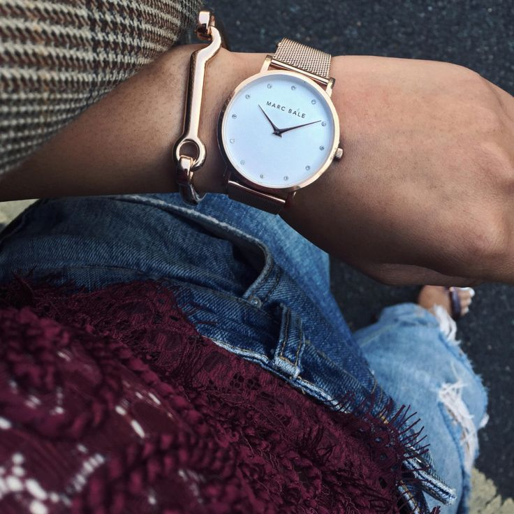 Marc Bale Rose Gold Crystal Mesh watch and Modern Latch Bangle from @thepeachbox