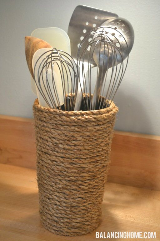 DIY Rope Vase/Utensil Crock - I have been searching for a unique idea in my kitchen... I just found it! YAY!!!!!