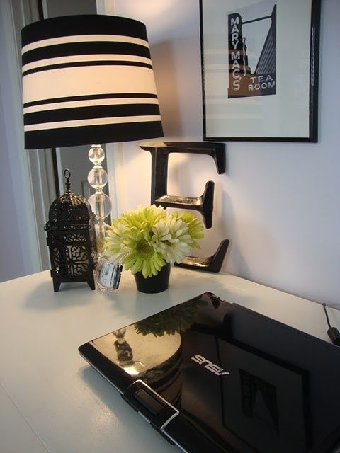 Black and White Home Office | Wells Home