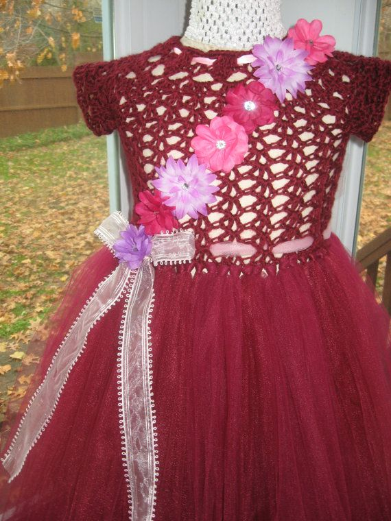 handmade, hand crochet, bodice, burgundy, with, burgundy, tulle, skirt, trimed with, pink, ribbon, and, pink, tulle, multi color, flowers, chest measures-23 to 24 length 28  Please measure child befor ordering  Hand wash warm water-NO BLEACH Tumble AIR DRY- NO HEAT  Flowers, are hair clips and can be removed.