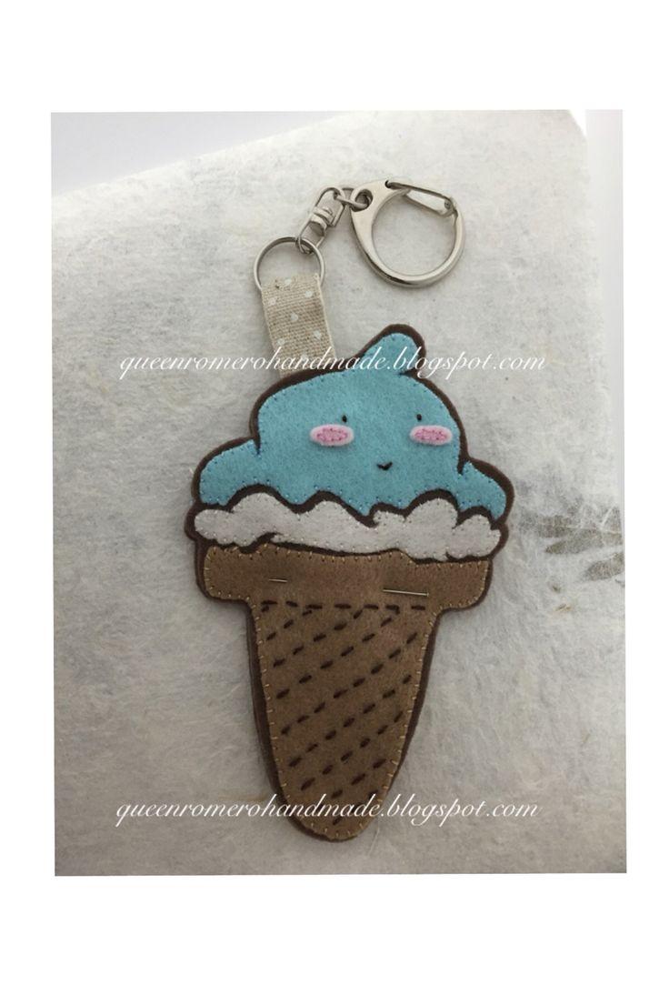 WIP hand-embroidered, handmade, applique, cute ice cream plushie, key strap, felt charm