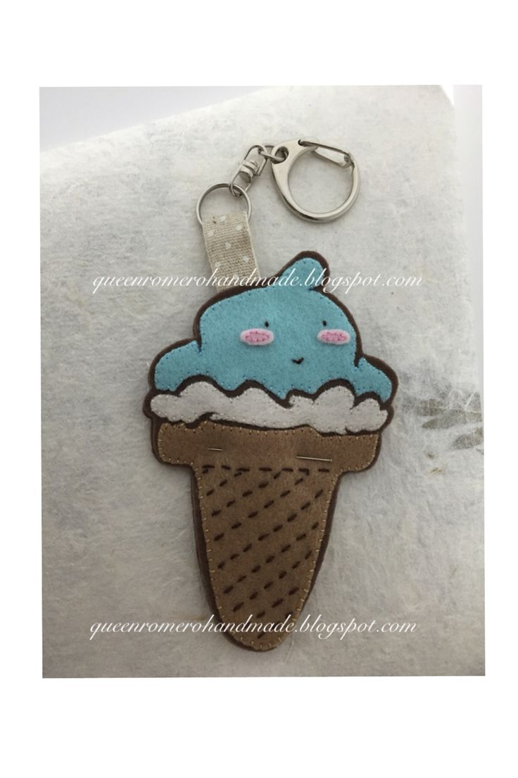 WIP hand-embroidered, handmade, applique, cute ice cream plushie, key strap, felt charm