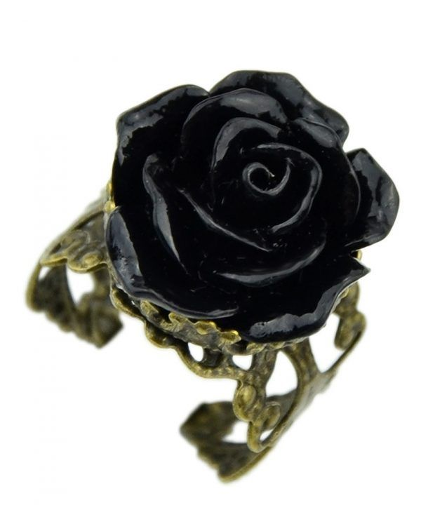 Bronze Alloy Gothic Black Rhinestone Rose Rings