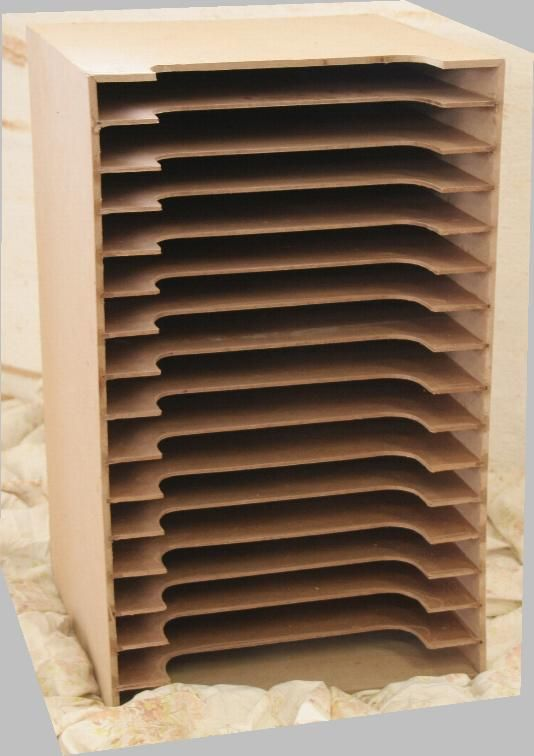 scrapbooking paper rack in wood