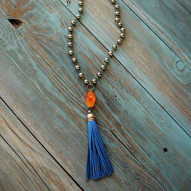 Ness Solo ожерелье из пирита   Ness Solo длинное ожерелье из пиритовых бусин, с кулоном из оранжевого сердолика и синей кисточкой из натуральной кожи, в стиле бохо-шик. - ручная работа. - материалы: пирит, сердолик, натуральная кожа. - заказы через сайт bohomagic.ru.  - в наличии, доставка от 1 дня. #бохо #boho #bohochic #бохошик #москва #girl #woman #мода #осень #бохоукрашения #nesssolo #интернетмагазин #украшения #шоппинг #женскиеукрашения #hippie #хиппи  #стиль #бохостиль #bohomagic…
